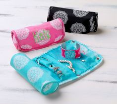 Medallion Jewelry Roll - great gift to personalize with name or monogram