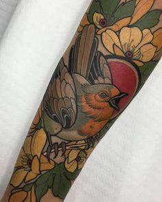 Robin Bird Tattoos, Robin Tattoo, Neo Tattoo, Tatoo Art, Lotus Tattoo, Traditional Ink, Neo Traditional Tattoo, Bird Tattoo Sleeves, Sleeve Tattoos