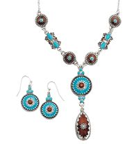 "Turquoise Color Style Y Necklace and Earring Gift Set - Faux turquoise, bronze color and silvertone. Necklace, 16 1/2"" L with 3 1/2"" extender. Pierced earrings, 1 1/4"" L. Regularly $19.99, buy Avon jewelry online at http://eseagren.avonrepresentative.com"