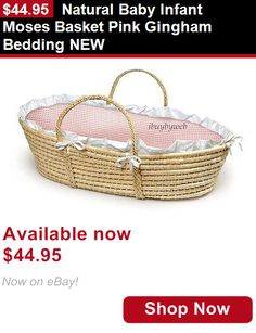 Moses Baskets: Natural Baby Infant Moses Basket Pink Gingham Bedding New BUY IT NOW ONLY: $44.95
