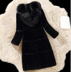 Womens Parka Warm Jacket Lamb Fur Outwear Luxury Overcoat Long Coat Fashion Hot#