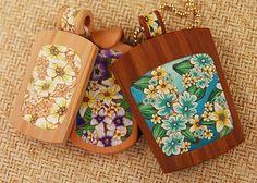 Kristie Foss.  Polymer Wood Pendants