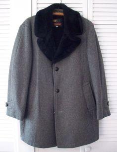 Vintage Gray Tweed Overcoat Faux Fur Collar Lapel Heavy Long Pimp Coat 42R #Vintage #VTG #Tweed #Overcoat #FauxFur #Pimp #PimpCoat #Dapper #Midcentury #MadMen #DonDraper #Ratpack