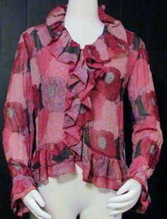 NEW Womens Ladies TRIBAL Pink & Purple Floral Silky Poet Style Shirt Top 4 $58! #Tribal #POETRYBLOUSE #VERSATILE