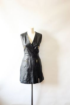 Vintage Black Leather Dress// Leather Dress// by recollectionla, $78.00