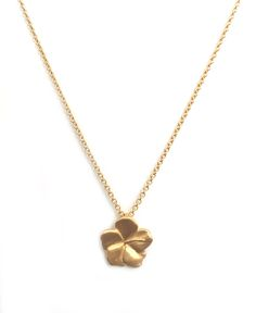 Collar tulipán flor 10mm, plata 925 con chapa de oro de 18k