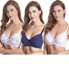 049bafe09cdf5 Curve Muse Plus Size Unlined Balconette Underwire Bra3PackSize 34B to 48DDD  White PrintNavyWhite44C