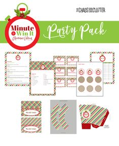 Minute to Win It Christmas Edition Printable Party Kit - The Chaos and the Clutter games indoor minute to win it Childrens Party Games, Tween Party Games, Bridal Party Games, Princess Party Games, Engagement Party Games, Dinner Party Games, Graduation Party Games, Outdoor Party Games, Indoor Games