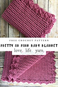 Crochet Projects This lace-like blanket is so pretty! Such an easy and fun crochet project! Baby Girl Crochet Blanket, Crochet Baby Blanket Free Pattern, Easy Crochet Blanket, Chunky Crochet, Free Crochet, Knit Crochet, Crocheted Baby Blankets, Baby Afghan Patterns, Crochet Throws