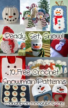 Ready Set Snow! Free snowman patterns to make - gifts, decor, and more! mooglyblog.com