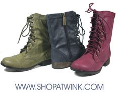 HOW FUN WOULD IT BE TO MIX & MATCH THESE COLORED COMBAT BOOTS WITH COLORED DENIM?