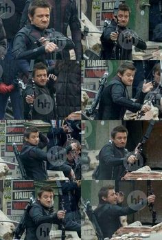 The many faces of a determined Hawkeye on the Age of Ultron set