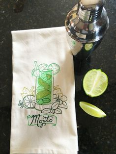 Mojito Embroidered Tea Towel - Cocktail Kitchen Towel by LindasOtherLife on Etsy