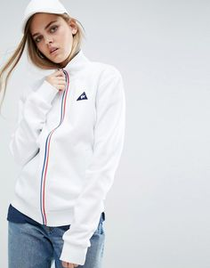 LE COQ SPORTIF SWEAT BOMBER JACKET WITH TRICOLORES ZIP - WHITE. #lecoqsportif #