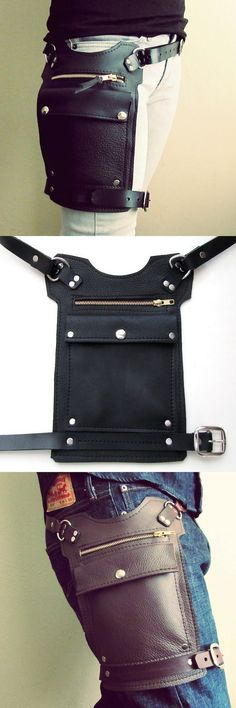 Mens or Womens Road Warrior Hip Bag Black from San Filippo Leather. Thigh bag, travel bag, burning man, festival gear.
