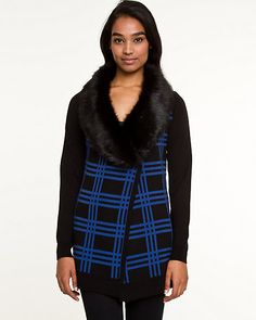 Wool Blend Throwover with Faux Fur Trim - This check print wool blend throwover is given a winter-ready plush update with a faux-fur collar. Faux Fur Collar, Fur Collars, Check Printing, Electric Blue, Fur Trim, Wool Blend, Turtle Neck, My Style, Long Sleeve