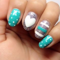 Turquoise, Silver and White Nails