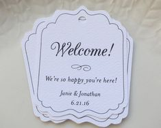 Personalized Gift Tags - Set of 20 These pretty scalloped die-cut tags will be a beautiful addition to your welcome bags, gifts, products or Wedding Guest Bags, Wedding Welcome Bags, Wedding Favor Tags, Wedding Gifts, Custom Gift Cards, Customized Gifts, Hotel Card, Personalized Gift Bags, Gifts For Boys