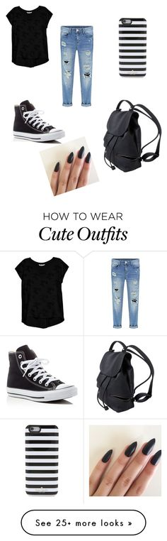 """Cute outfit"" by rileyland on Polyvore featuring Kate Spade, Bobeau and Converse"