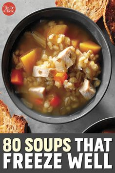 80 Soups to Store in the Freezer Freezable Soups, Soup Broth, Wedding Soup, Best Soup Recipes, Peanut Chicken, White Bean Soup, Veggie Soup, Turkey Chili, Stuffed Pepper Soup