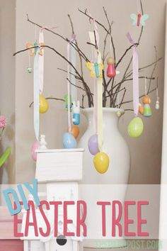 DIY Easter Tree...and our spring mantel!