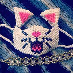 Duchess white cat kandi mask, kandi ears headband