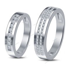 0.84 Carat Round Cut Simulated Diamond Couple Band Ring in 14K White Gold Finish #beijojewels #CouplesWeddingBand