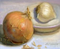 Onion with Garlic 8 x10 Oil on panel, painting by artist Hall Groat II