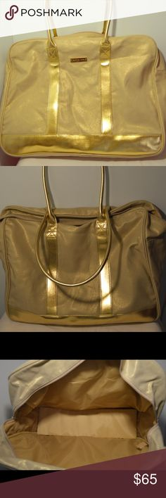 Michael Kors Tote Cute gold tote bag by Michael Kors! NWOT, but still has plastic protection over logo. Large enough to be an overnight bag, or just an oversized purse Michael Kors Bags Totes