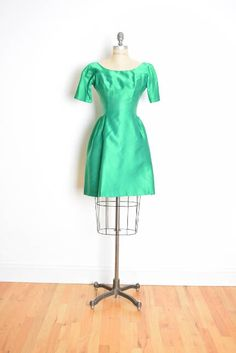 vintage 60s dress 60s cocktail dress green satin dress 60s