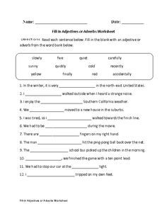 Printables Adverb Worksheets 5th Grade worksheets and adverbs on pinterest fill in adjectives or worksheet