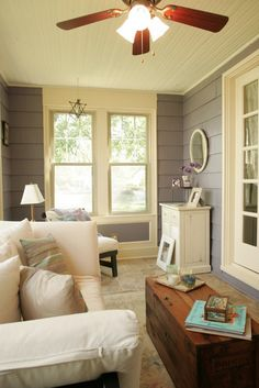 3-season room with gray walls and alabaster trim, ivory, soft yellow, creamy yellow, sherwin williams alabaster