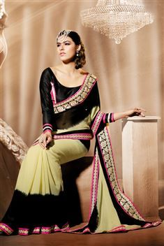 Georgette Yellow, Black Designer party wear saree