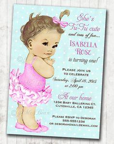 Vintage ballerina birthday invitation for girl ballet party first vintage ballerina birthday invitation for girl ballet party first birthday girl diy printable stopboris Gallery