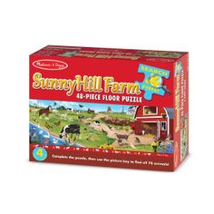 Search & Find Sunny Hill Farm Floor Puzzle - 48 piece Floor Puzzle and thousands more of the very best toys at Fat Brain Toys. Farm animals of all kinds cover this floor puzzle. Once the big floor puzzle is assembled, the key .