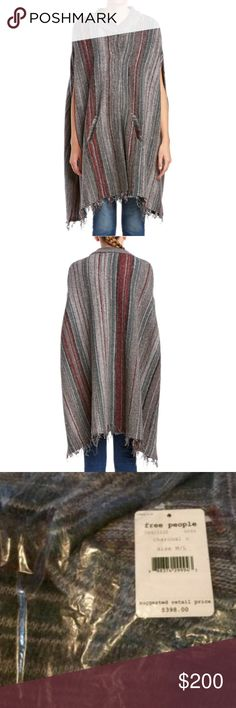 """NEW Free People Boho Blanket Poncho Cape M/L Gorgeous Graphic stripes throughout. Size is Medium to Large M/L Crewneck Dolman sleeves Side slip pockets Raw edge hem Tonal top stitching and panel seaming Front closure Measurements: 39"""" from shoulder to hem;  Relaxed, over sized, loose and boxy Material: 41% wool, 33% linen, 24% cotton , 1% nylon and 1% acrylic shell; 100% rayon combo Care: Dry clean only Brand: Free People Ultra Bohemian blanket sweater coat Free People Jackets & Coats Capes"""