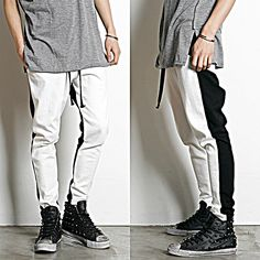 Remember Click Two Tone Slim Drawstring Pants MIXEDCOLOR ONE SIZE Korean Wear #RememberClick #CasualPants