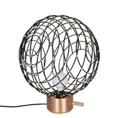 Sphere Medium Table lamp - / Bamboo - Ø 40 cm Black / Copper base by Forestier - Design furniture and decoration with Made in Design Furniture Sale, Table Furniture, Furniture Design, Media Table, Black Table Lamps, Modern Colors, Weaving Techniques, Geometric Shapes, Bamboo