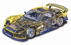 The cutaway drawing and its artists - Page 269 - The Nostalgia Forum Audi Rs5, Gt Cars, Race Cars, Indy Cars, Sports Car Racing, Sport Cars, Cutaway, Wallpapers Bmw, Car Animation