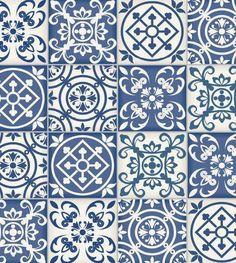Adesivo Hidraúlico de parede fosco com cores predominante azuis com detalhes em branco - Ladrilho 38