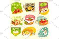 Italian Food Labels Set Graphics Italian Traditional Food Set. Italian Cuisine. Food Collection. Italian Food Labels Set. Vector Illu by elfivetrov