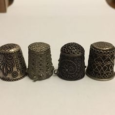 4 X Antique Greek Silver Thimbles Filigree