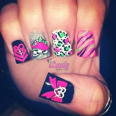 Metal Mulisha Maidens nails. Black and pink. Zebra stripes. Cheetah print. Skulls and bows.