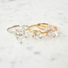 Herkimer Diamond (a double-terminated quartz crystal) sits lovely in a 4 prong, 14kt gold setting. Each one is unique making every ring a one of a kind. Phenomenal to wear alone or stack it up and create a fun and unique look. Modern, unconventional, and affordable with a meld of classic.