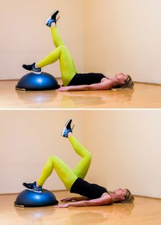 This move is great for your butt! With the BOSU dome side up, lay on your back with a natural arch and arm...