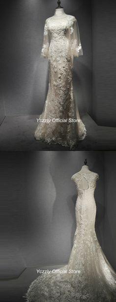 Glamorous Champagne Long Lace Pearls Mermaid Wedding Dress RW401. Modest  DressesFormal ... c2f20f3d9011