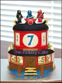 I LOVE THIS Ninjago Cake by The Pinkery Cake. Can substitute Ninjago figures on top of cake. Lego Ninjago Cake, Ninjago Party, Lego Cake, Ninja Birthday Parties, Lego Birthday, Birthday Ideas, Birthday Cakes, Happy Birthday, Bolo Lego
