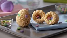 Easter egg shaped rice krispy treats