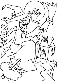 I have download Malignant Witch Is Heading The Castle Coloring Page