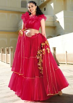 #red #net #lehenga #choli #designs # traditional #indian #outfits #gorgeous #bridesmaid #dresses #wedding #looks #ootd #new #arrival #womenswear #online #shopping